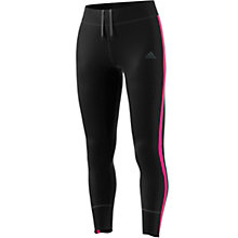 Buy Adidas Response Stripe Long Running Tights, Black/Pink Online at johnlewis.com