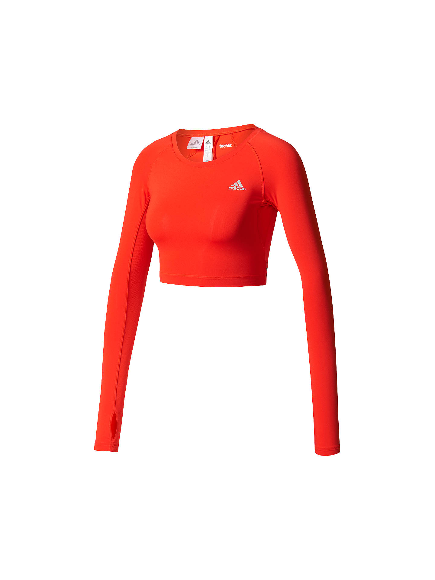 24c82d3652466 Buy Adidas Techfit Long Sleeve Training Crop Top, Red, XS Online at  johnlewis.