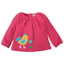Buy Frugi Organic Baby Applique Bird Top, Pink Online at johnlewis.com