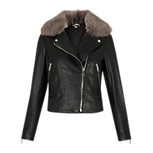 Buy Whistles Toscana Faux Fur Collar Jacket, Black Online at johnlewis.com