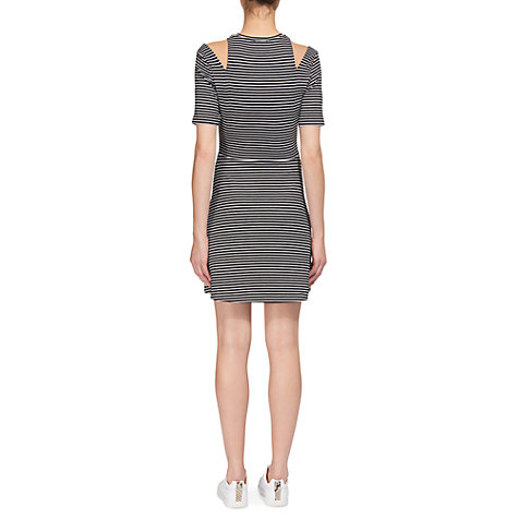 Buy Whistles Stripe Cut Out Dress, Black & White Online at johnlewis.com