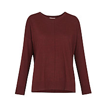 Buy Whistles Rib Hem Long Sleeve T-Shirt, Burgundy Online at johnlewis.com