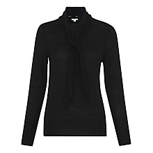 Buy Whistles Tie Neck Fine Gauge Jumper, Black Online at johnlewis.com