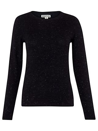 Whistles Annie Sparkle Knit Top, Navy