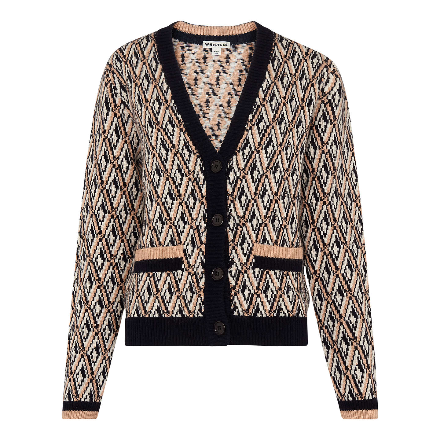 BuyWhistles Diamond Jacquard Cardigan, Multicolour, S Online at johnlewis.com