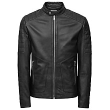 Buy Reiss Native Leather Biker Jacket, Black Online at johnlewis.com