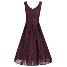 Buy Jolie Moi Sweetheart Neck Pleated Lace Dress, Burgundy Online at johnlewis.com