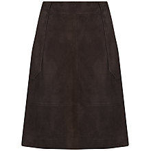 Buy Jaeger Suede Patch Pocket Skirt, Dark Brown Online at johnlewis.com