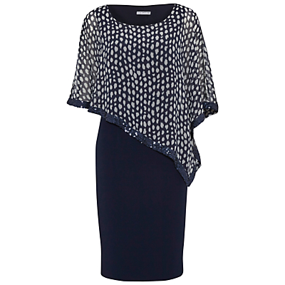 Product photo of Gina bacconi dress with printed chiffon cape spring navy