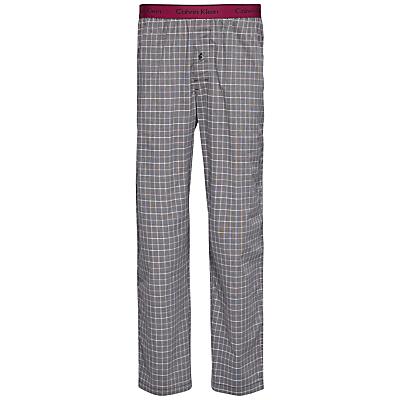 Calvin Klein Woven Cotton Check Lounge Pants, Grey/Red