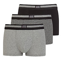 Buy Jockey Stretch Cotton Trunks, Pack of 3, Black/Grey Online at johnlewis.com