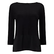 Buy Phase Eight Marietta Woven Hem Knit Top, Black Online at johnlewis.com