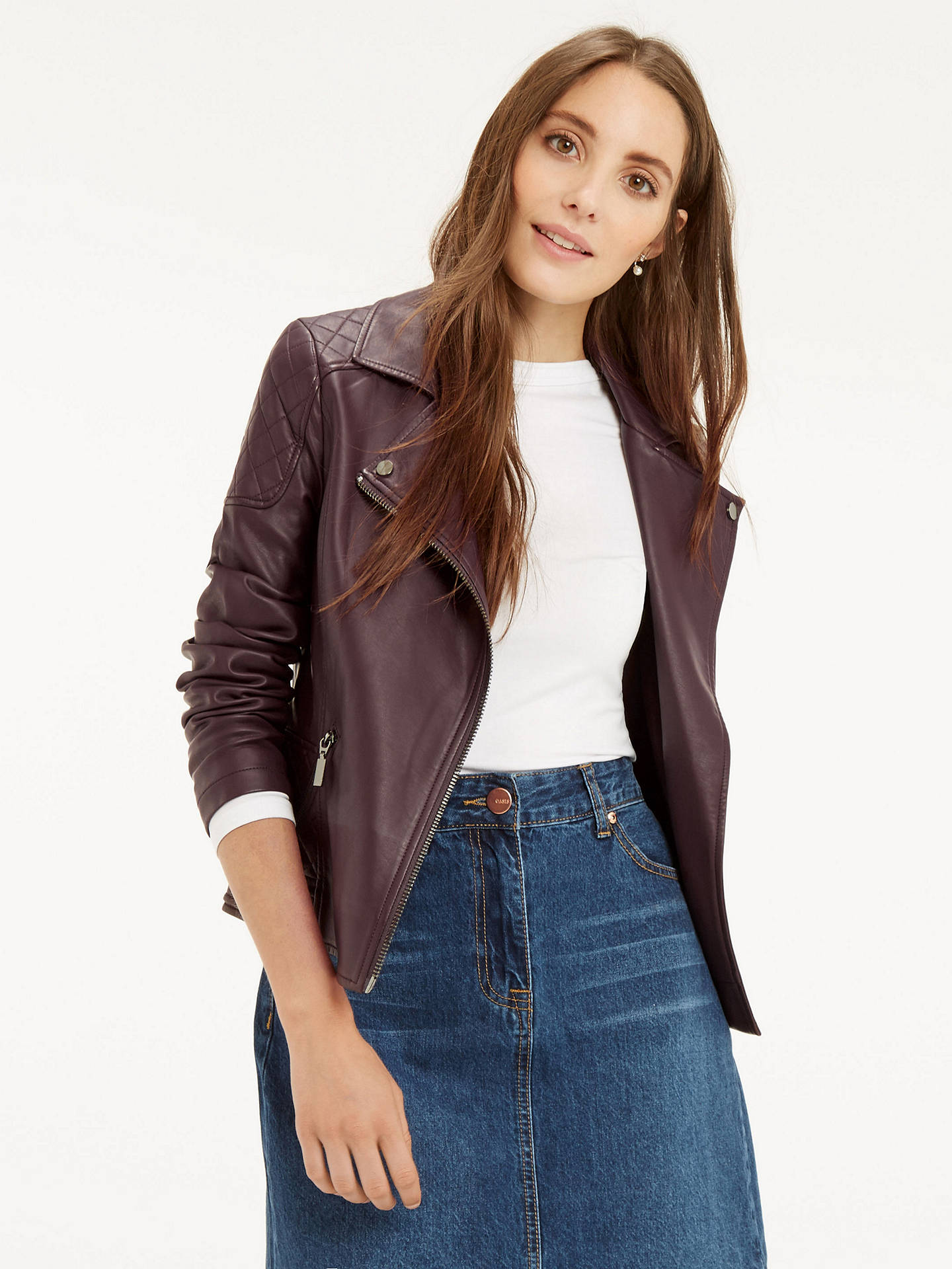 popular brand outstanding features luxury fashion Oasis Faux Leather Biker Jacket, Burgundy at John Lewis ...