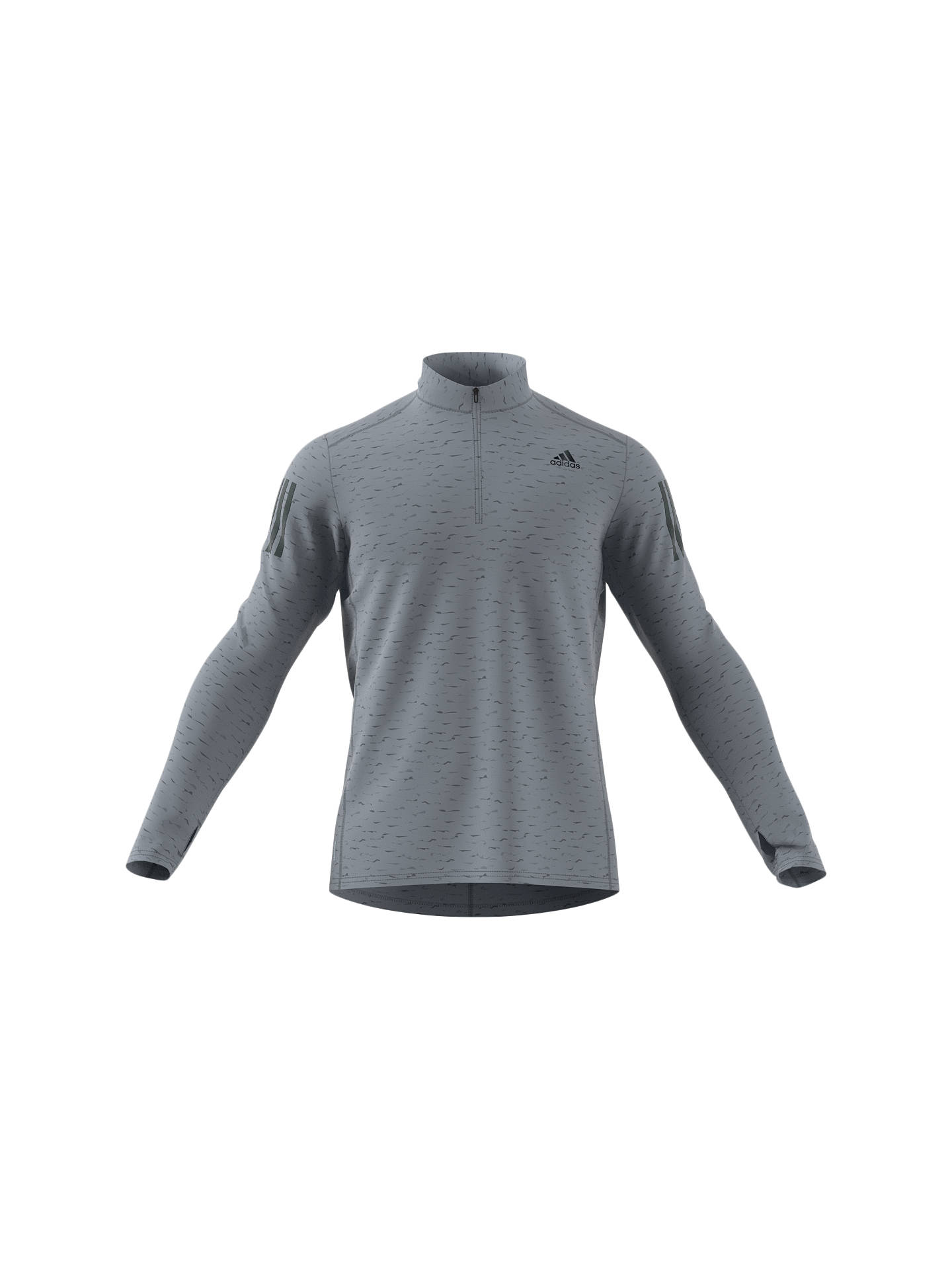 adidas Response Mens Running Top Grey Half-Zip Long Sleeve Jersey