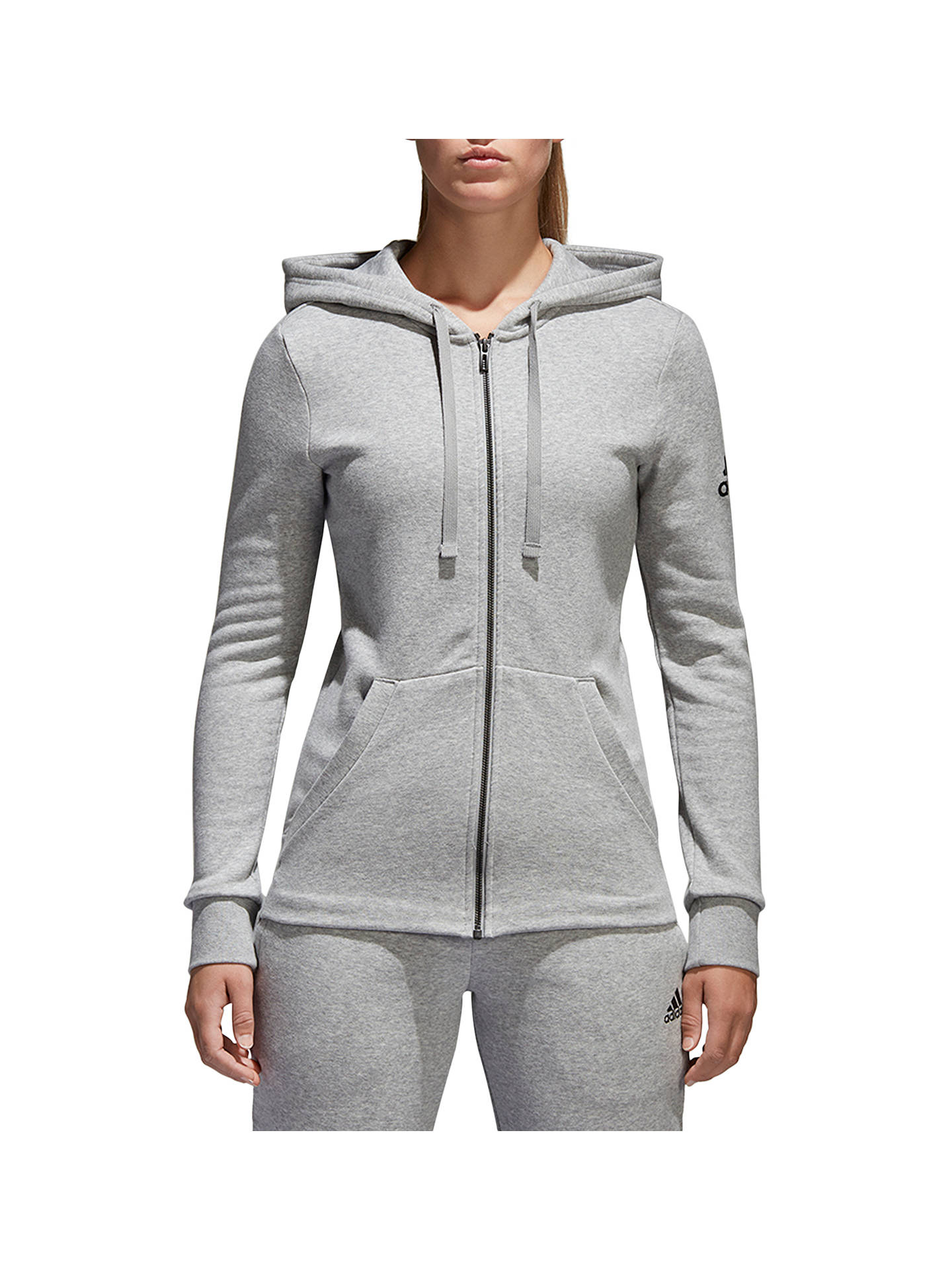 Buy adidas Essentials Solid Full Zip Training Hoodie, Grey Heather, XS Online at johnlewis.com