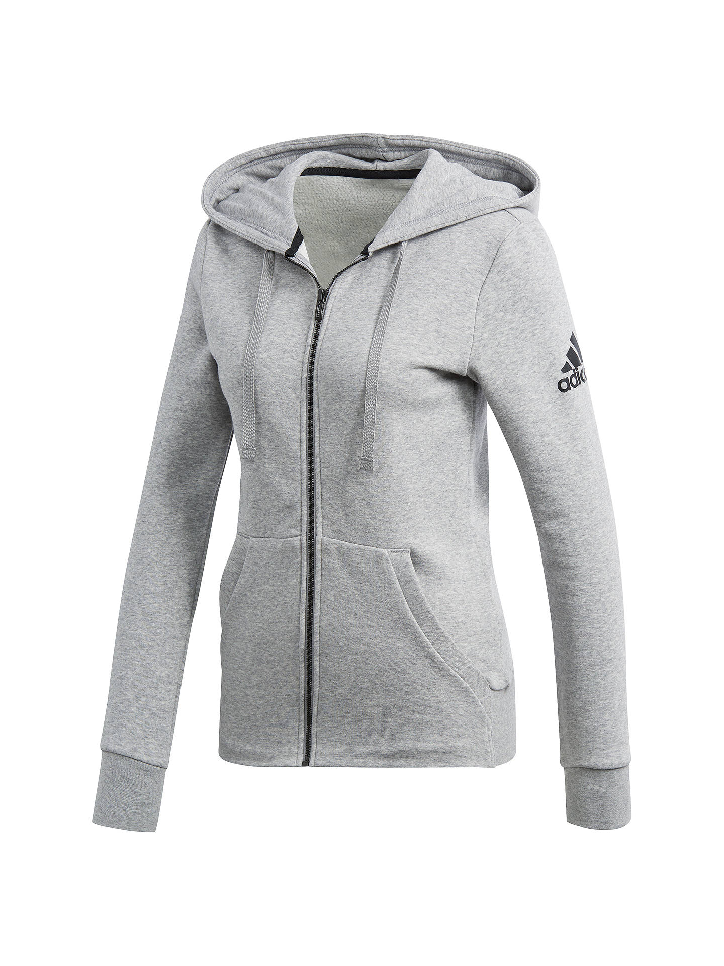 Buyadidas Essentials Solid Full Zip Training Hoodie, Grey Heather, XS Online at johnlewis.com