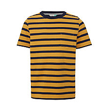 Buy John Lewis Boys' Bretton Stripe T-Shirt, Yellow/Navy Online at johnlewis.com