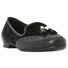 Buy Dune Wide Fit Loki Flat Tassel Loafers, Black Online at johnlewis.com