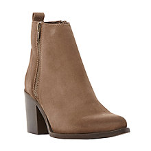 Buy Steve Madden PORTA SM Side Zip Almond Toe Mid Heel Ankle Boots Online at johnlewis.com