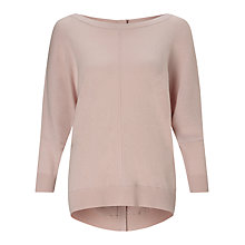 Buy Jigsaw Button Back Drop Sweater, Rose Water Online at johnlewis.com