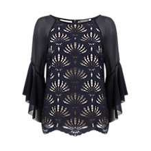 Buy Mint Velvet Lace Fluted Sleeve Top, Blue Online at johnlewis.com