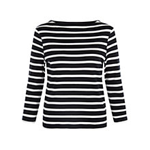 Buy Hobbs Maureen Breton T-Shirt, Navy/White Online at johnlewis.com