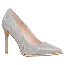 Buy KG by Kurt Geiger Beauty Toe Point Stiletto Court Shoes, Silver Fabric Online at johnlewis.com