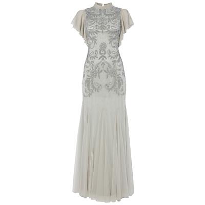 Raishma Embellish Frill Gown, Silver