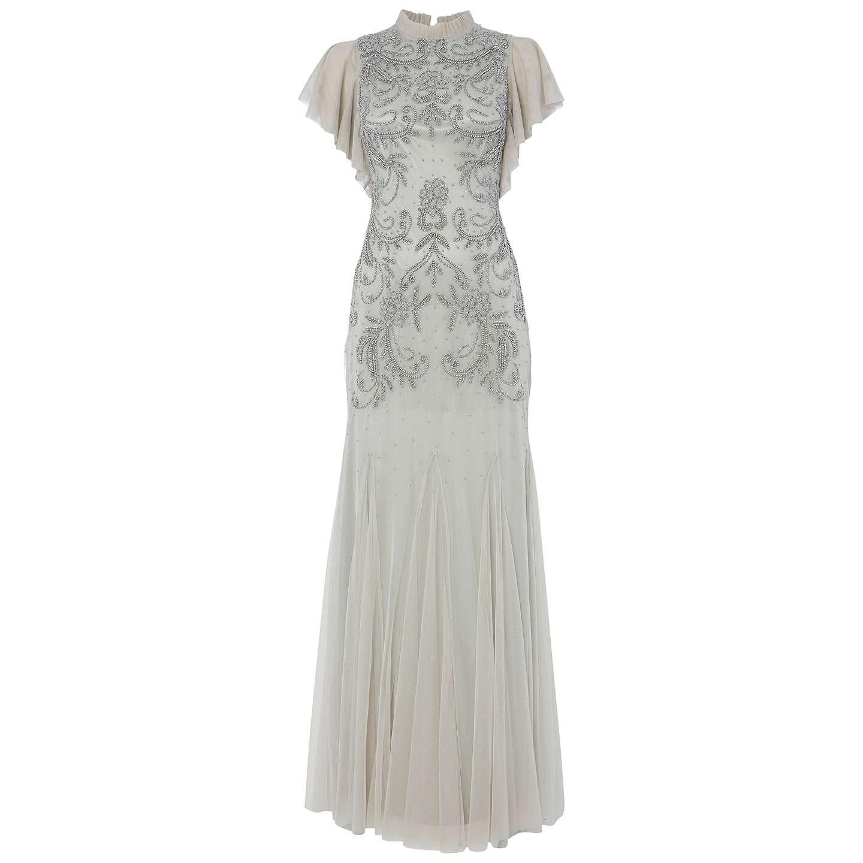 John Lewis Wedding Gift: Raishma Embellish Frill Gown, Silver At John Lewis