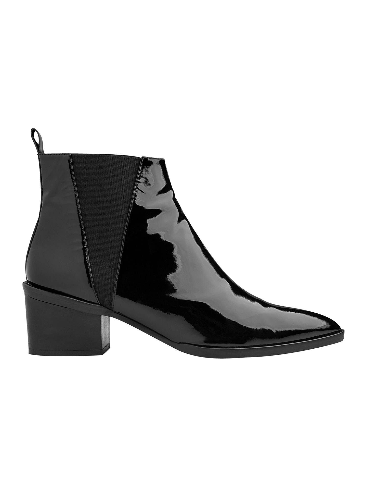 6384b930515 Whistles Belmont Pointed Toe Block Heeled Ankle Boots, Black Patent ...