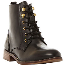 Buy Dune Quincey Lace Up Ankle Boots, Black Leather Online at johnlewis.com