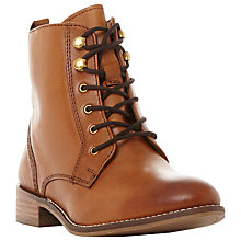 Buy Dune Quincey Lace Up Ankle Boots, Tan Leather Online at johnlewis.com