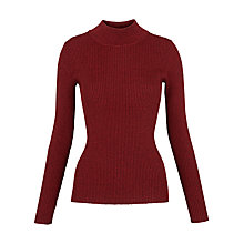 Buy Whistles Mouline Ribbed Turtle Neck Knit, Red Online at johnlewis.com
