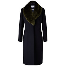Buy Grace & Oliver Nicole Wool Fur Trim Coat, Navy Online at johnlewis.com