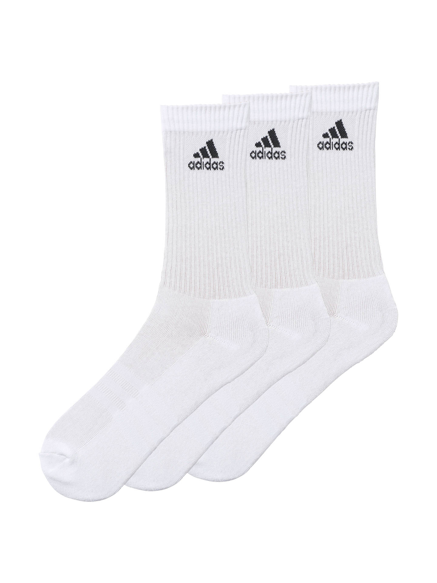 Buy adidas Half Cushioned Socks, Pack of 3, White, M Online at johnlewis.com