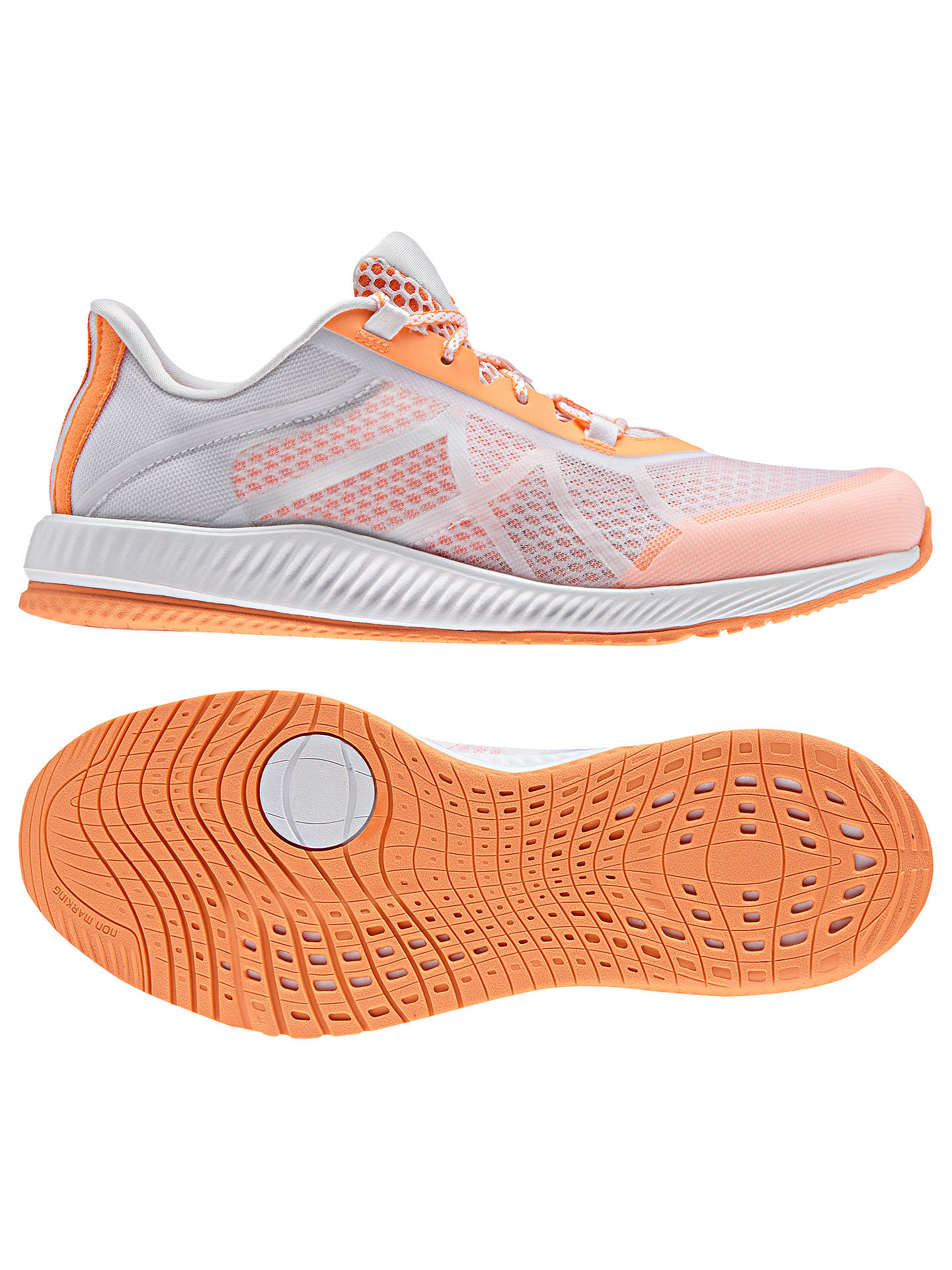 este Simposio Rafflesia Arnoldi  Adidas Gymbreaker Bounce Women's Cross Trainers, White/Orange at John Lewis  & Partners