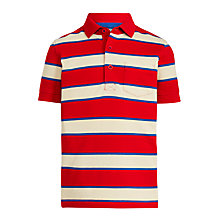 Buy John Lewis Boys' Core Stripe Polo T-Shirt, Red Online at johnlewis.com