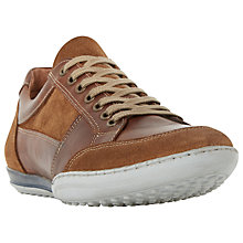 Buy Dune Titan Mixed Leather Lace-Up Trainers, Tan Online at johnlewis.com