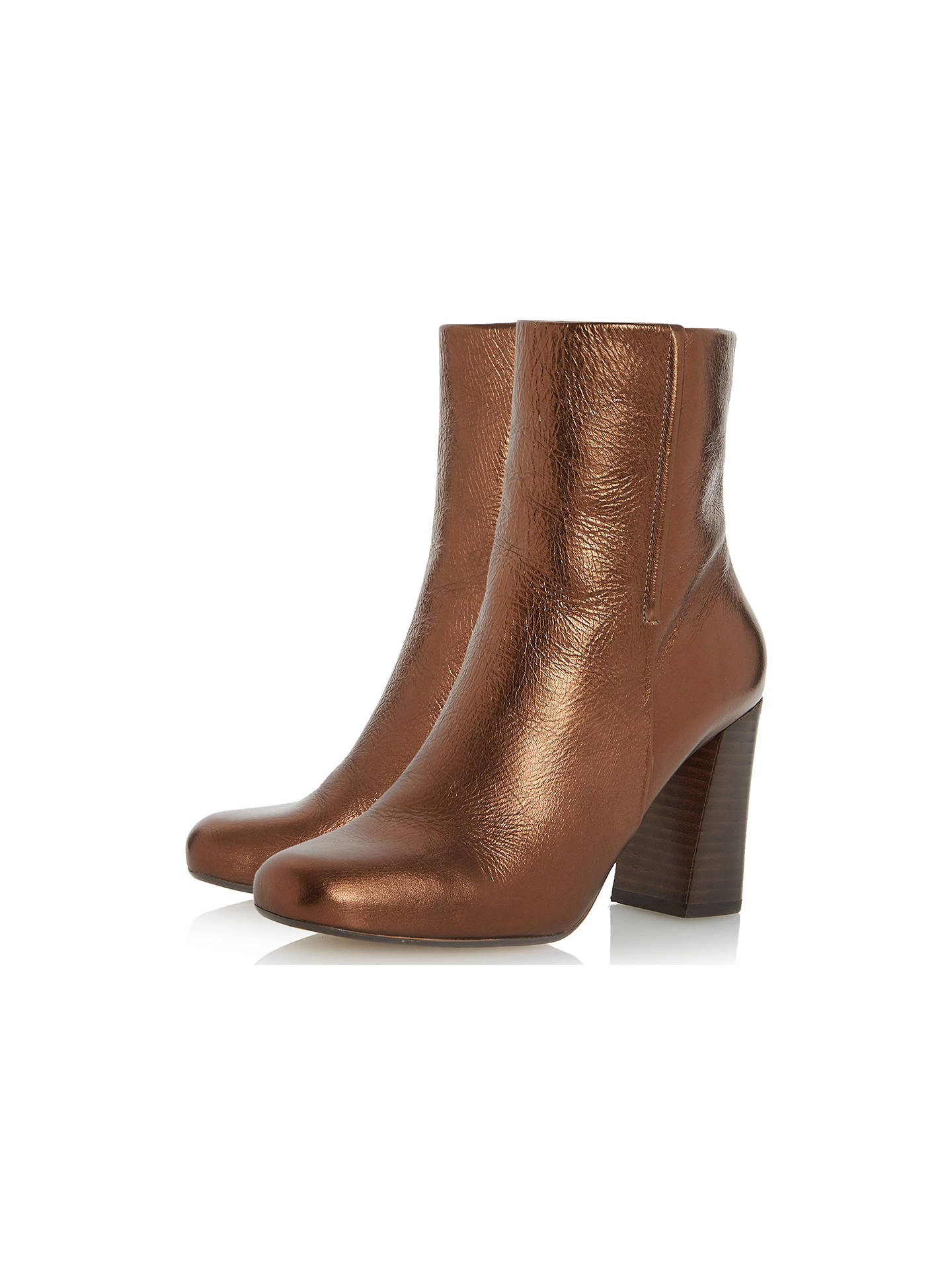 BuyDune Osmond Block Heeled Ankle Boots, Bronze, 3 Online at johnlewis.com
