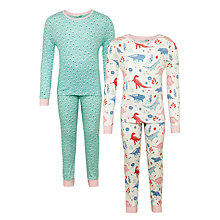Buy John Lewis Girls' Dinosaur Print Pyjamas, Pack of 2, Blue/Multi Online at johnlewis.com