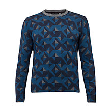 Buy Ted Baker Malone Geo Print Crew Neck Jumper, Bright Blue Online at johnlewis.com