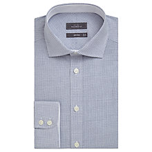 Buy John Lewis Print Non Iron Cotton Tailored Fit Shirt, White/Aqua Online at johnlewis.com