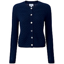 Buy Pure Collection Canterbury Lofty Cable Cardigan, Navy Online at johnlewis.com