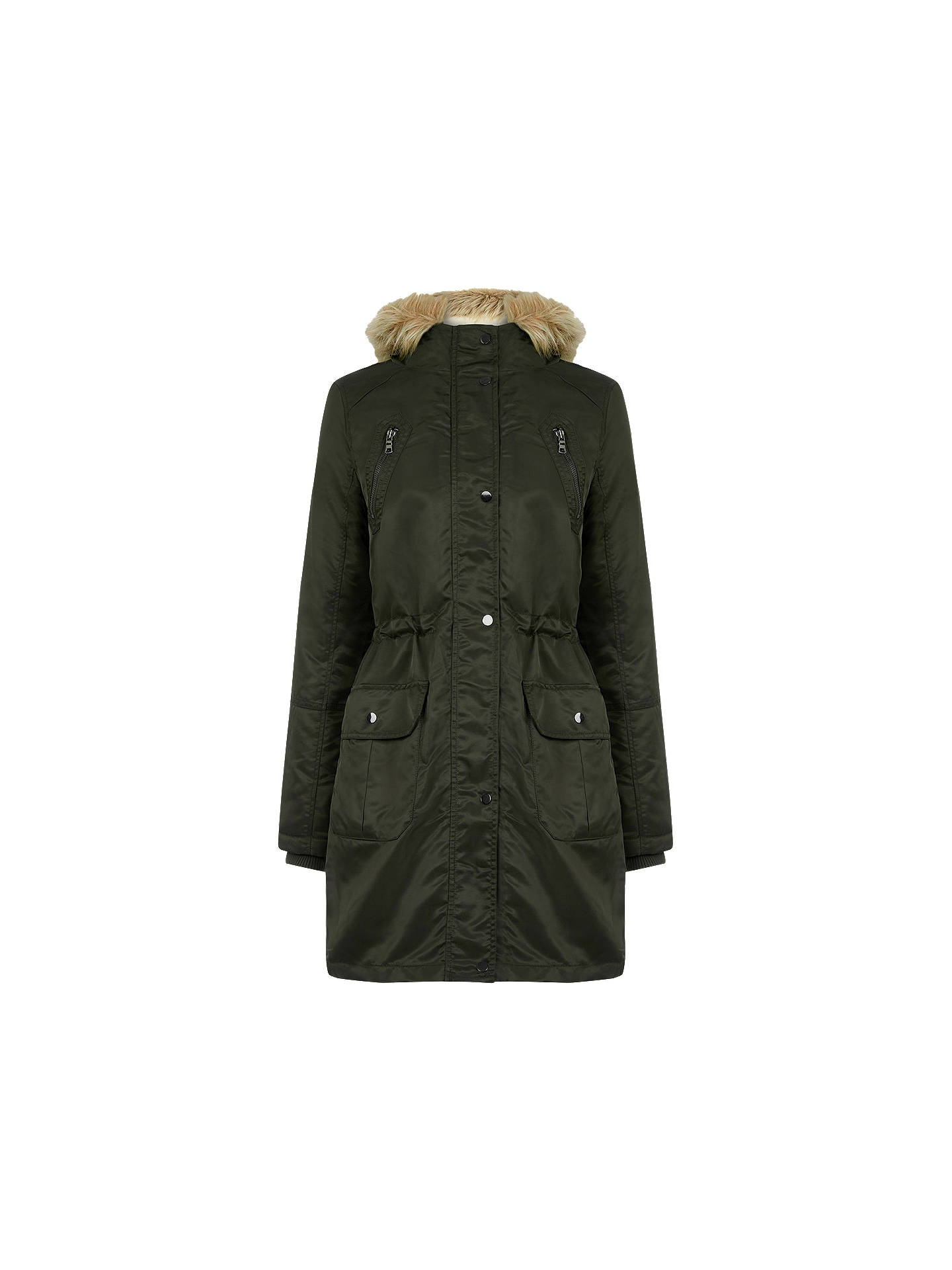 30ce197ea7a1 Buy Oasis Diana Parka Jacket, Khaki, XS Online at johnlewis.com ...