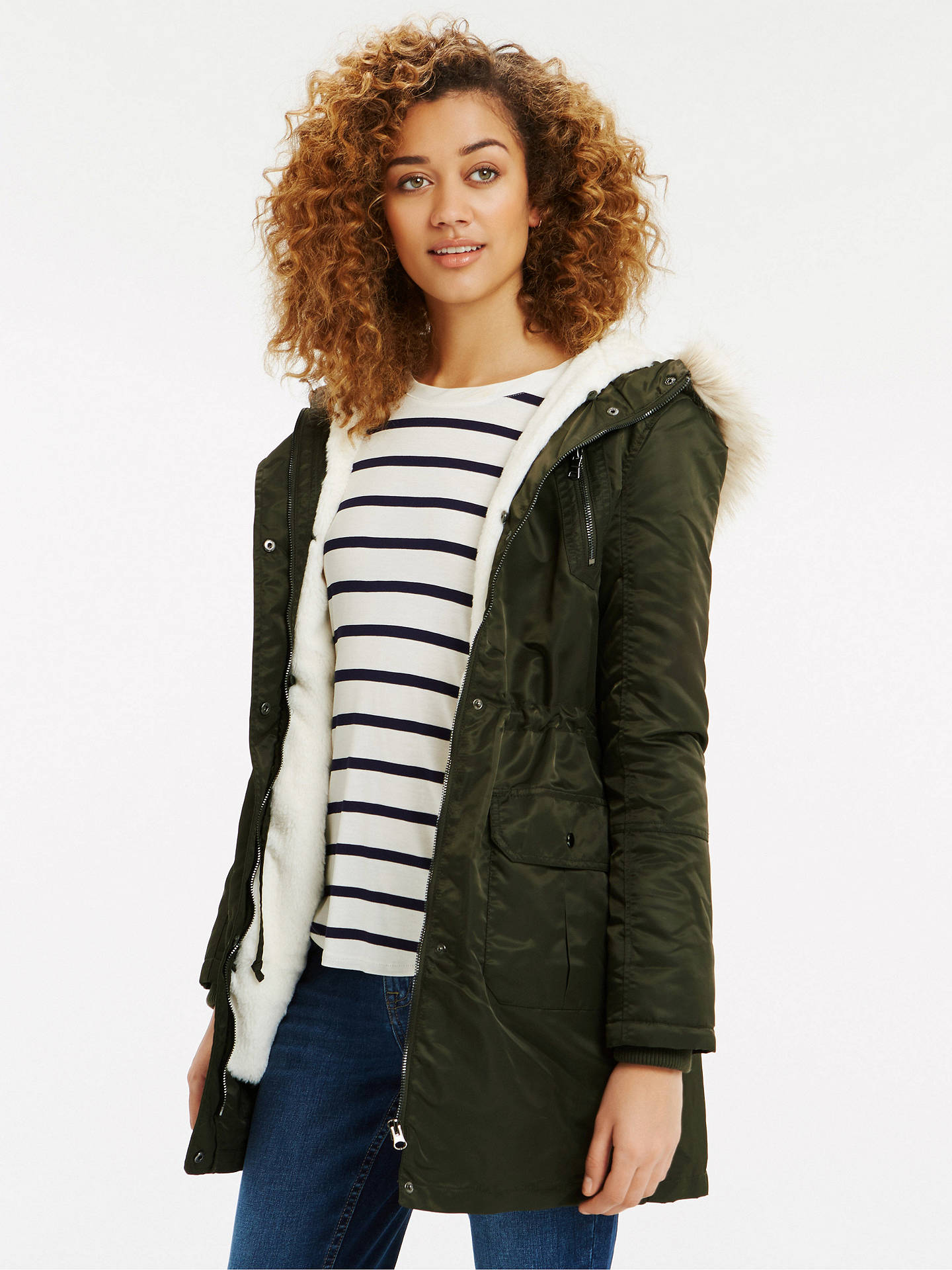 dc49def6df5f ... Buy Oasis Diana Parka Jacket, Khaki, XS Online at johnlewis.com ...