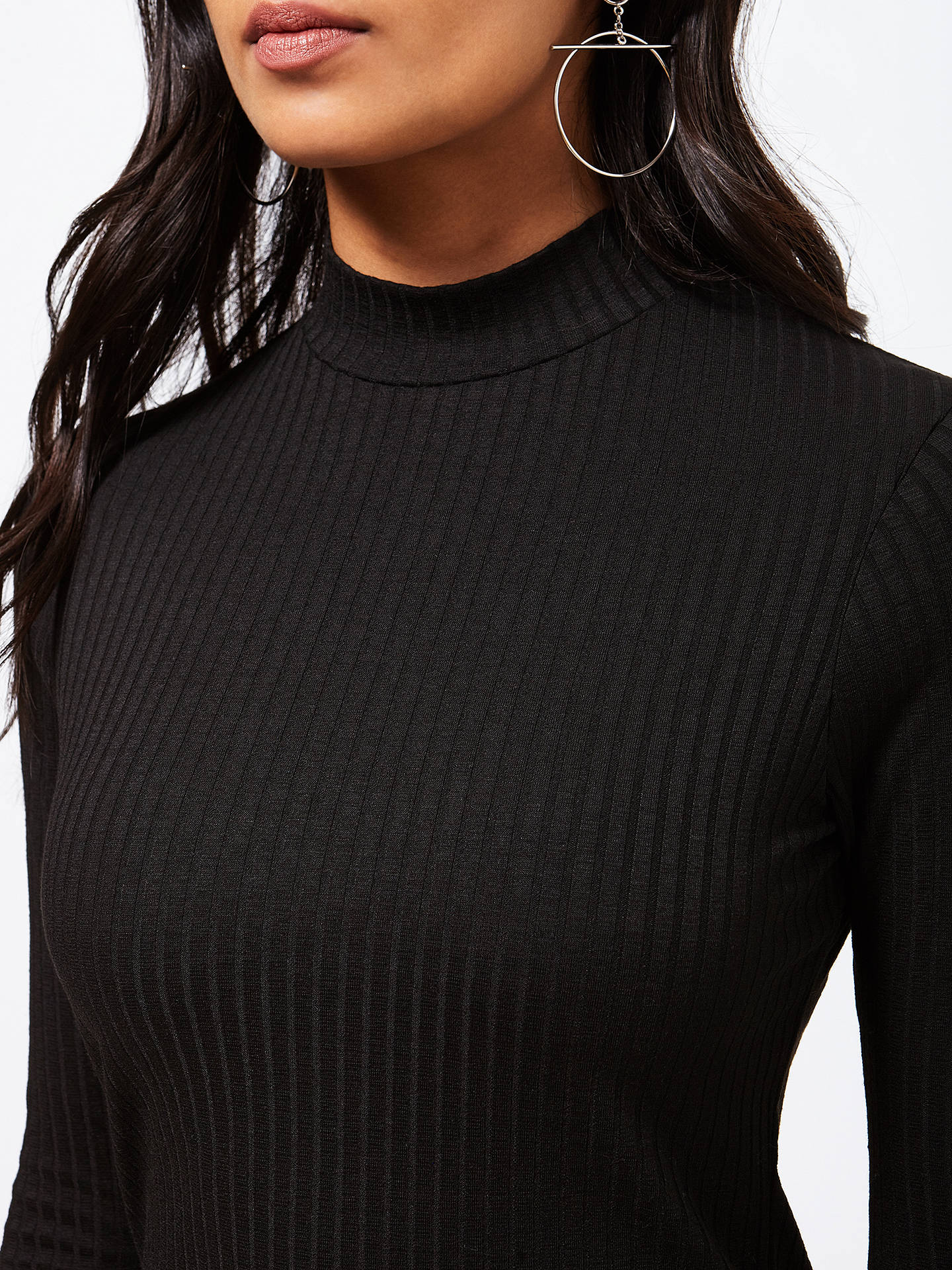 Buy Miss Selfridge Turtle Neck Crop Top, Black, 6 Online at johnlewis.com