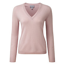 Buy Pure Collection Lawson Cashmere Double V Neck Jumper, Oyster Online at johnlewis.com
