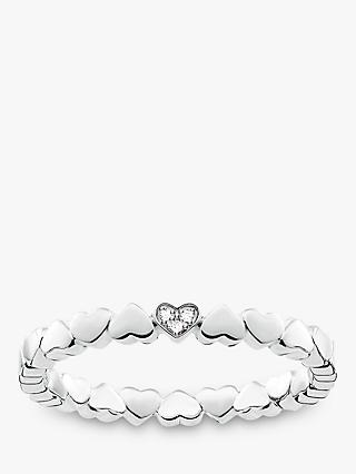 THOMAS SABO Glam & Soul Diamond Pavé Heart Stacking Ring, Silver