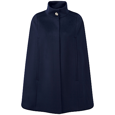 Retro Vintage Style Coats, Jackets, Fur Stoles Pure Collection Alaina Wool Cape Navy £209.00 AT vintagedancer.com