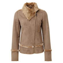 Buy Pure Collection Leah Faux Shearling Jacket, Grey Camel Online at johnlewis.com